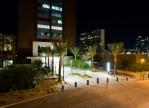 Night shot of plaza entry